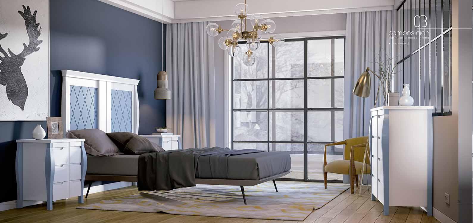 http://www.munozmuebles.net/nueva/catalogo/dormitorios-clasicos.html - Foto con  muebles azules
