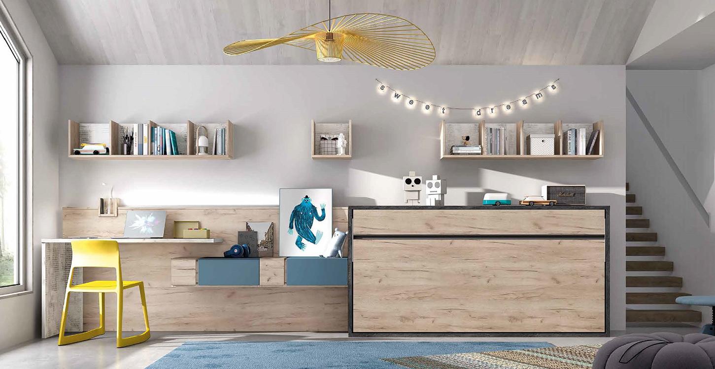 Camas abatibles en madera maciza for Muebles modulares juveniles