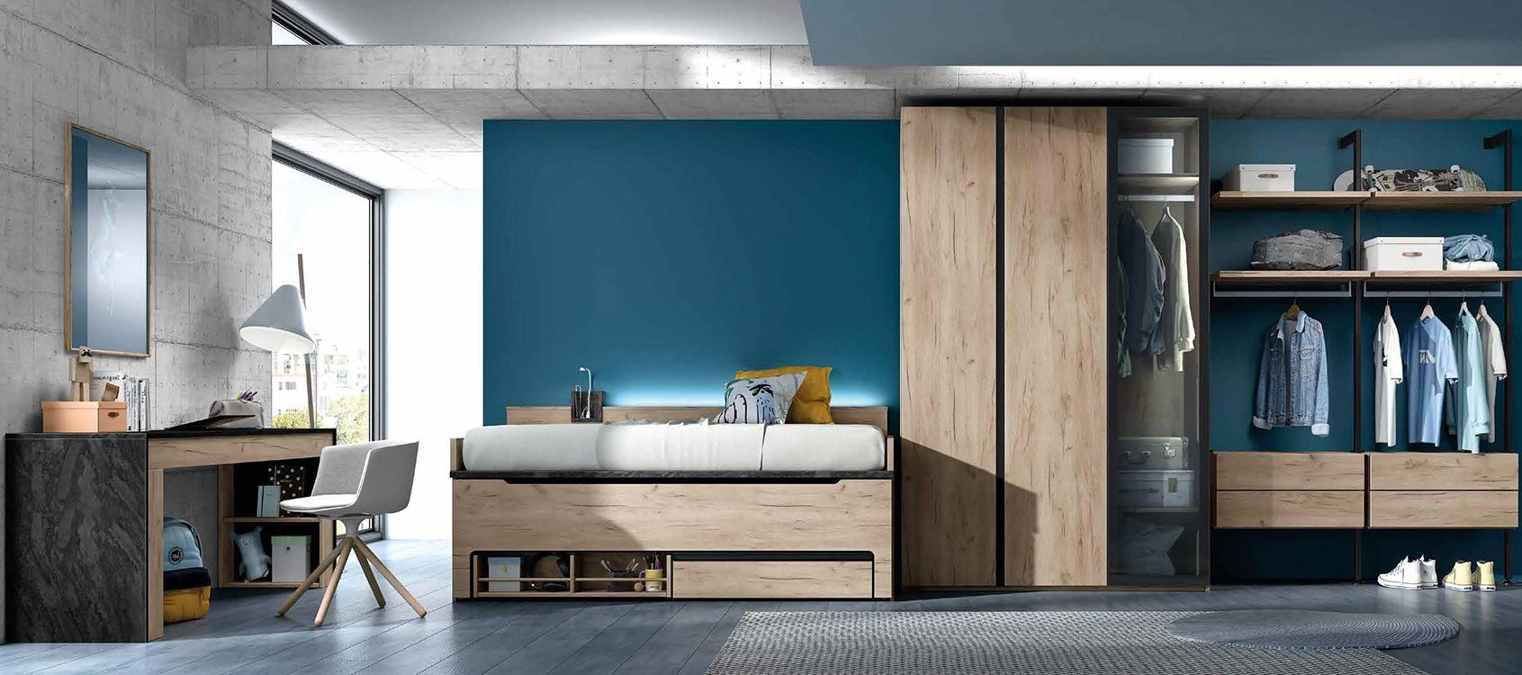 Habitaciones juveniles con cama abatible - Habitaciones de estudio ...