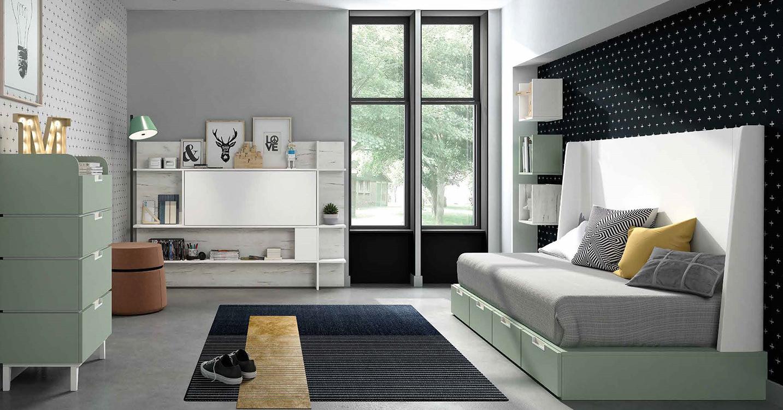 http://www.munozmuebles.net/nueva/catalogo/juveniles-modulares.html - Fotos de  muebles pintados en verde