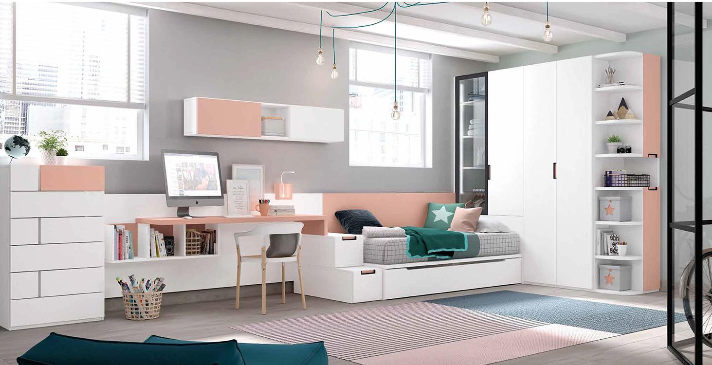Habitaciones juveniles en l for Habitaciones modulares juveniles