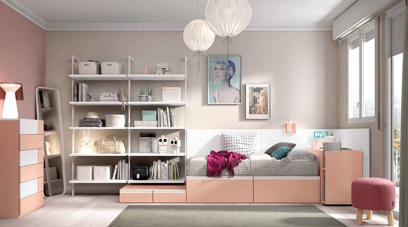 http://www.munozmuebles.net/nueva/catalogo/juveniles-modulares.html - Foto con  muebles de color rosa en Toledo y provincia
