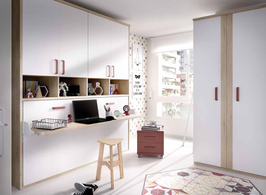 http://www.munozmuebles.net/nueva/catalogo/juveniles-modulares.html - Foto con  muebles de color magenta