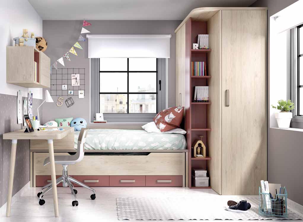 http://www.munozmuebles.net/nueva/catalogo/juveniles-macizos.html - Foto con  muebles de color magenta