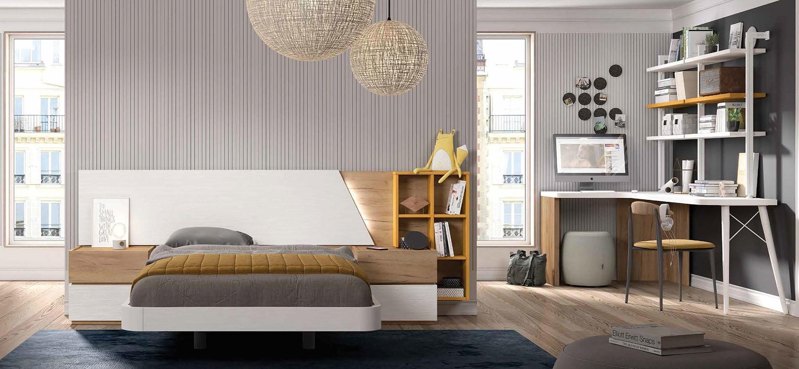 Dormitorios individuales color caoba for Muebles modulares juveniles