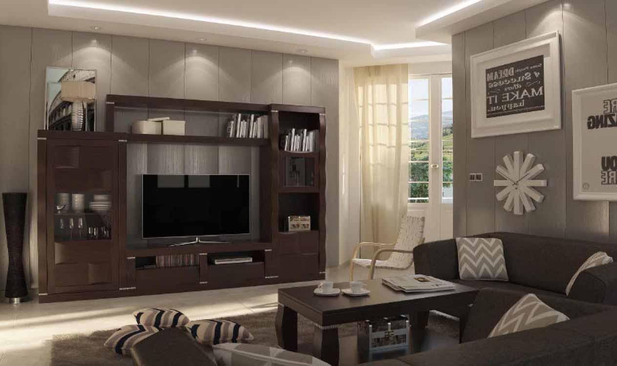 Salones de madera modernos muebles modulares para saln for Salones de madera modernos